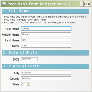 Person Form - Using Poor Man's Form Designer