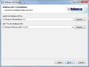 Choosing a destination folder to install NetBeans
