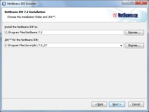 Choosing a destination folder to install NetBeans