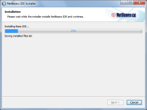 Progress dialog window installing NetBeans