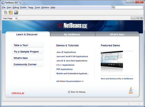 Start Page NetBeans IDE