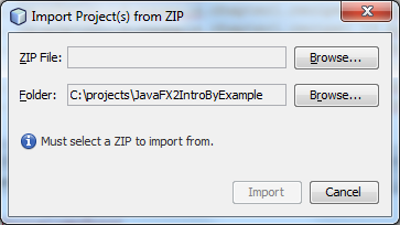 Import Project(s) from ZIP dialog window