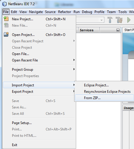Import a NetBeans project zip file