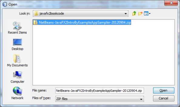 File Chooser to select zip file
