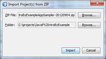 Import Project(s) Zip dialog populated with source and destination