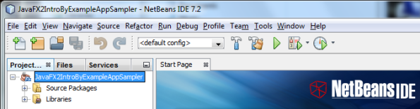 Project tab containing the project of JavaFX 2 Intro by Example book code.