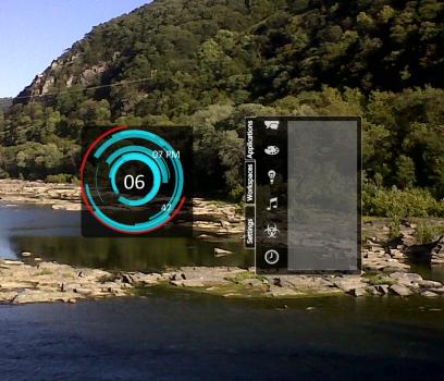 TrayFX launching a clock widget.